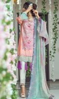 Digital Printed Embroidery Shirt 3 Mtr Printed Chiffon Dupatta 2.5 Mtr Dyed Trouser 2.5 Mtr Printed Back