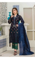 Semi Stitched Embroidered Crinkle shirt  Banarsi Dupatta  Embroidered Viscose Trouser