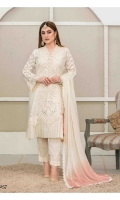 Semi Stitched Embroidered Organza Broshia shirt  Embroidered Chiffon Dupatta  Plain Viscose Trouser