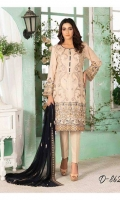Shirt: - Embroidered Swiss Lawn Dupatta: - Embroidered Bamber Chiffon Trouser: - Dyed