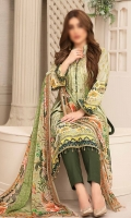 3 piece digital print lawn suit with digital print bamber chiffon fabric for dupatta, dyed cambric for trouser