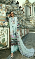 Digital Printed With Embroidered Neck Digital Chiffon Dupatta Embroidered Cotton Dyed Trouser