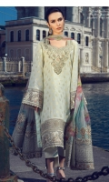 3 Piece Embroidered Suit Shirt : Jacquard Dupatta : Digital Printed Chiffon Sleeves: Jacquard Trouser : Dyed EMBROIDERY Embroidered Gala Embroidered Daman For Front Embroidered Border For Sleeves Embroidered Pallus For Duppata