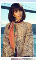 3 Piece Embroidered Suit Shirt : Digital Printed Lawn Dupatta : Digital Printed Silk Sleeves: Digital Printed Lawn Trouser : Digital Printed EMBROIDERY Embroidered Gala Embroidered Sleeves Embroidered Border for Trousers Embroidered Patti for Chak and Daman