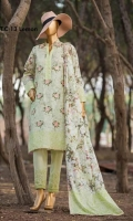 Cambric Embroidered Shirts With Printed Voil Lawn Dupatta and Embd Dyed Cambric Trouser : sequins | Chiken Kari thread