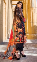 Digital Printed Lawn Front 1.14 M Digital Printed Lawn Back 1.14 M Neckline Embroidered Patch 2 Pc Digital Printed Lawn Sleeves 0.67 M Digital Printed Crinkle Chiffon Dupatta 2.5 M Dyed Cotton Trouser 2.5 M