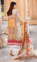 Digital Printed Lawn Front 1.14 M Digital Printed Lawn Back 1.14 M Neckline Embroidered Patch 2 Pc Embroidered Front Daman Patch 1 M Digital Printed Lawn Sleeves 0.67 M Digital Printed Voile Dupatta 2.5 M Dyed Cotton Trouser 2.5 M