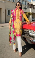 Digital Printed Lawn Front 1.14 M Digital Printed Lawn Back 1.14 M Neckline Embroidered Patch 1 M Embroidered Front Daman Patch 1 M Digital Printed Lawn Sleeves 0.67 M Digital Printed Voile Dupatta 2.5 M Dyed Cotton Trouser 2.5 M
