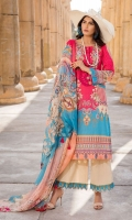 Digital Printed Lawn Front 1.14 M Digital Printed Lawn Back 1.14 M Neckline Embroidered Patch 1 Pc Digital Printed Lawn Sleeves 0.67 M Digital Printed Crinkle Chiffon Dupatta 2.5 M Dyed Cotton Trouser 2.5 M