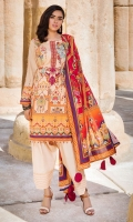 Digital Printed Lawn Front 1.14 M Digital Printed Lawn Back 1.14 M Neckline Embroidered Patch 1 Pc Digital Printed Lawn Sleeves 0.67 M Digital Printed Voile Dupatta 2.5 M Dyed Cotton Trouser 2.5 M