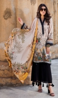 Digital Printed Lawn Front 1.14 M Digital Printed Lawn Back 1.14 M Embroidered Front Daman Patch 1.5 M Digital Printed Lawn Sleeves 0.67 M Digital Printed Voile Dupatta 2.5 M Dyed Cotton Trouser 2.5 M