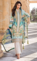 Digital Printed Lawn Front 1.14 M Digital Printed Lawn Back 1.14 M Neckline Embroidered Patch 1 M Embroidered Front Daman Patch 1 M Digital Printed Lawn Sleeves 0.67 M Digital Printed Crinkle Chiffon Dupatta 2.5 M Dyed Cotton Trouser 2.5 M