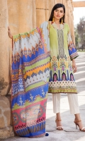 Digital Printed Lawn Front 1.14 M Digital Printed Lawn Back 1.14 M Neckline Embroidered Patch 1 Pc Embroidered Front Daman Patch 1 M Digital Printed Lawn Sleeves 0.67 M Digital Printed Crinkle Chiffon Dupatta 2.5 M Dyed Cotton Trouser 2.5 M