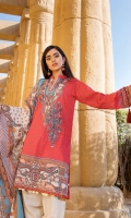 Digital Printed Lawn Front 1.14 M Digital Printed Lawn Back 1.14 M Neckline Embroidered Patch 2 Pc Digital Printed Lawn Sleeves 0.67 M Digital Printed Voile Dupatta 2.5 M Dyed Cotton Trouser 2.5 M