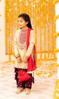 Embroidered Banarasi Tissue Shirt Embroidered Raw silk Shalwar Chiffon Dupatta & Pouch