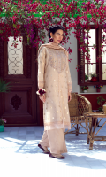Rendering pastel hues with relentless delicacies woven in thread; she is an alchemic narration of festive charm!    4 Piece Suit.