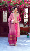 In triumph to the world the youthful Spring. The valleys, hills, and woods in rich array. Welcome the coming of the long'd-for May. Now all things smile, only my love doth lour. Adorn yourself in this playful festive ensemble by Umsha.    4 Piece Suit.
