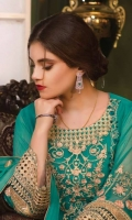 Chiffon emb center panel  Chiffon emb side panels Chiffon back plain Chiffon emb sleeves  Chiffon emb dupatta  Emb lace for sleeves  Organza lace for front / back  Pallu border  Raw silk trouser