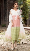 Our signature chikan shaded shirt in off white, green and pink palette with hand embellished motifs on neckline and lace finish on sleeves. It is paired with white tulip shalwar and organza dupatta with shaded frill.