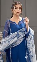 Our signature organza blue sheesha shirt meticulously paired with a Korean silk pants and digital printed organza dupatta. **It comes with a short silk slip.   *The length of the shirt is 44 inches.