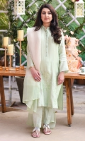 Our signature mint green cotton net shirt with embroidered tulips on daman. It is paired with an organza dupatta and silk pants to complete the look.