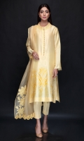 Indian raw silk shirt with loop buttons and a high neck collar. It has stitch embroidery with applique on front. Complement the look with our signature raw silk pants and organza dupatta with lace finish and embroidery to complete the look. *The length of the shirt is 42 inches.