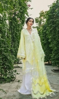 Cotton embroidered fabric 2.9 Yards Front and back Organza border Sleeve border on Satin Fully embroidered Trouser on cotton fabric Laser cut Dupatta on Organza