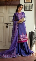 Embroidered Lawn slub Shirt: 2.8 Yards Embroidered front and back Patti on Satin fabric Embroidered sleeve patch on Organza Embroidered Jacquard Trouser Embroidered Organza dupatta