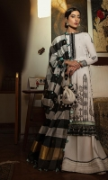 Embroidered Jacquard Shirt 2.8 Yards Front and back border on Organza Sleeve border on Organza Neckline patch Embroidered Trouser Woven Jacquard Dupatta