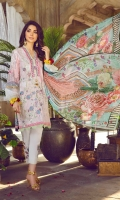 Digital Print & Embroidered Lawn Front 1.25m Digital Print Lawn Back 1.25m Digital Print Lawn Sleeve 0.6m Digital Print Chiffon Dupatta 2.5m Dyed Cambric Trouser 2.5m Embroidered Patch for Trouser 02 Embroidered Border on Maysuri for Sleeves 01