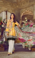 Digital Maysuri Embroidered Lawn Front	1.25m Digital Maysuri Lawn Back	1.25m Digital Maysuri Lawn Sleeve	0.6m Digital Print Chiffon Dupatta	2.5m Printed Cambric Trouser	2.5m Embroidered Border 1	0.66m Embroidered Border 2	2.8m Embroidered Patch for Sleeves	2