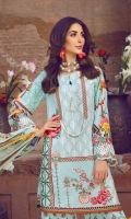 Dyed Embroidered Lawn Front 1.25m Digital Print Lawn Back 1.25m Digital Print Lawn Sleeve 0.6m Digital Print Chiffon Dupatta 2.5m Printed Cambric Trouser 2.5m Embroidered Border 1 0.66m Embroidered Border 2 0.78m Embroidered Border 3 0.66m