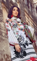 Digital Print Lawn Front 1.25m Digital Print Lawn Back 1.25m Self Organza Sleeve 0.6m Digital Print Tissue Silk Dupatta 2.5m Printed Cambric Trouser 2.5m Embroidered Patch for Front 1 Embroidered Motif on Sleeve 1 Embroidered 3D floral Motif 2
