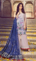 Dyed Embroidered Lawn Front 1.25m Digital Print Lawn Back 1.25m Dyed Jacquard Sleeve 0.6m Dyed Jacquard Dupatta 2.5m Dyed Cambric Trouser 2.5m Embroidered Border 1 0.78m