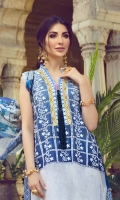 Dyed Schiffili Lawn Front 1pc Digital Print Lawn Back 1.25m Digital Print Lawn Sleeve 0.6m Digital Print Tissue Silk Dupatta 2.5m Printed Cambric Trouser 2.5m Schiffli Border 1pc