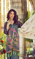 Digital & Embroidered Lawn Front 1.25m Digital Print Lawn Back	1.25m Dyed Schiffili Lawn Sleeve 0.6m Dyed Embroidered Organza Maysuri Dupatta 2.5m Dyed Cambric Trouser 2.5m Embroidered Patch for Dupatta 2