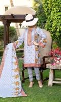 3 mtr printed lawn shirt  2.5 mtr printed lawn dupatta 2.5 mtr dyed trouser