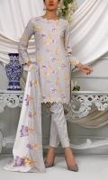 3.0 Meter Printed Wrinkle Free Shirt. 2.25 Meter Printed Wrinkle Free Dupatta. 2.5 Meter Trouser.