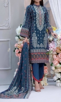 3 Meter Digital Embroidered Airjet Cambric Shirt. 2.5 Meter Digital Printed Airjet Lawn Dupatta with two side Embroidery. 2.5 Meter Dyed Trouser.