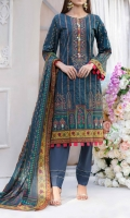 3 Meter Digital Front Embroidered Airjet Cambric Shirt. 2.5 Meter Digital Printed Airjet Lawn Dupatta . 2.5 Meter Dyed Trouser.