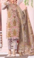 * 1 mtr Embroidered Pure Crape/Short Silk Shirt * 1 mtr Pure Crape fabric for back (embroidered) * 23 inches Emb Sleeves * 2.5 yard Organza Jacquard Dupatta * 2.5 yard Raw Silk trouser * 62 inches Emb Border on Organza.