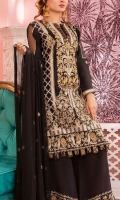 * 1 mtr Embroidered Pure Crape/short silk for shirt . * 1 mtr Pure Crape fabric for back (embroidered) * 23 inches Emb Sleeves * 2.5 yard Bamber Chiffon Emb Dupatta * 2.5 yard Raw Silk trouser * 62 inches Emb Border on Organza.