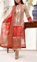 3.0 Meter Digital Printed Lawn Shirt With Neck Embroidered. 2.5 Meter Digital Printed Lawn Dupatta . 2.5 Meter Dyed Trouser.