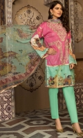 Embroidered and Digital Printed Lawn Front, Digital Printed Lawn Back & Sleeves, Digital Printed Bamber Dupatta, Dyed Cotton Trouser, 2 Embroidered Patches