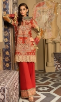 Embroidered & Digital Printed Lawn Front, Digital Printed Lawn Back & Sleeves, Digital Printed Silk Dupatta, Dyed Cotton Trouser, 2 Embroidered Patches