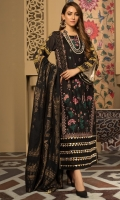 Embroidered Lawn Front, Digital Printed Lawn Back & Sleeves, Zari Jacquard Dupatta, Dyed Cotton Trouser, 2 Embroidered Patches, Inner