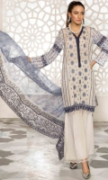 3PC Lawn Chikan Kari with Printed & Embroidered Chiffon Dupatta