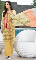 Embroidered Net Front: 1.25 Digital Printed Lawn Back & Sleeves: 1.85 Dyed Cotton Trouser: 2.5 Digital Printed Bamber Dupatta: 2.5