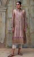 Mud pink cypress tree motif block printed shirt with gota kingri details. Comes with block printed pants.