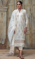 Off-white and gold floral motif block printed shirt with lace detail. Comea with printed dupatta.